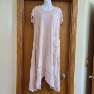 Saga Pink Tier Sharkbite Hem Lagenlook Dress L